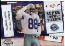 2010 Playoff Contenders Michael Irvin Super Bowl Ticket Black