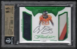 2016   Champ Bailey Flawless Greats Emerald Parallel Dual 3-CLR Patch Auto #2/5 BGS RCR 9.5/10