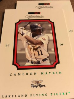 2007  TRISTAR Autothentic Green CAMERON MAYBIN #15 /250 Flying Tiger WhiteCap Angel OF