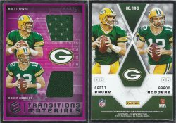 2018 Panini Elements Transitions Materials #TM-3 Brett Favre/Aaron Rodgers