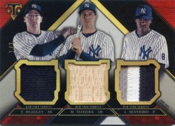 2016 Topps Triple Threads Mark Teixeira Headley Severino Relic Card Ruby
