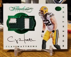 2016 Panini Flawless Momentous Patch Autograph Emerald  Clay Matthews