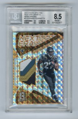2017 Panini Spectra Next Era Jerseys Neon Orange #3 Leonard Fournette/5 BGS 8.5