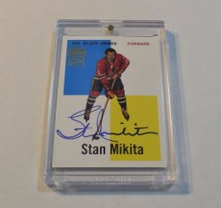 1998/99 Topps Blast From the Past Stan Mikita rookie reprint auto