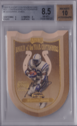 1999 Playoff Contenders Rookie of the Year Contenders Autographs Edgerrin James