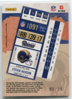 2010 Panini Contenders Steven Jackson Playoff Ticket Back