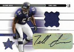 2003 Donruss Rookies & Stars Terrell Suggs 2003 Leaf Rookies & Stars RC Jersey Autograph 002 of 550