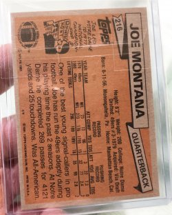 1981 Topps  Joe Montana (Back)