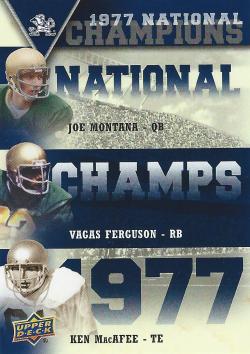 2013 Upper Deck Notre Dame National Champs Trios Joe Montana/MacAfee/Ferguson