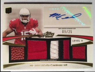 2012 Topps Prime Autographed Relics Level 5 Gold #PVMF Michael Floyd /25