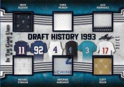2019 Leaf In The Game Used Sports Draft History 6 Relics Bledsoe / Strahan / Webber / Hardaway / Rodriguez / Rolen #ed 13/30