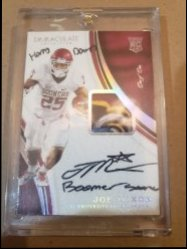 2017 Panini Immaculate  Joe Mixon 2017 immaculate sugar bowl patch auto with boomer sooner horns down inscription 1/1