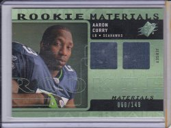 Aaron Curry 2009 SPx Rookie Materials Green Dual JSY /149