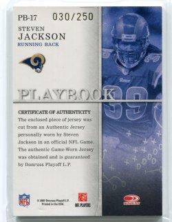 2007 Donruss Gridiron Gear Steven Jackson Playbook Xs