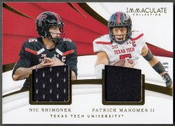 2018  Immaculate Collection Collegiate Combo Materials Patrick Mahomes