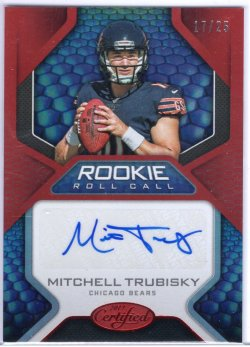 2017 Panini Certified Mitchell Trubisky Rookie Roll Call Red