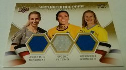 2010 Upper Deck WPS National Pride Triple Materials 42/50 Heather Mitts & Hope Solo & Amy Rodriguez