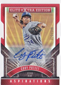 2015 Cody Poteet Elite Extra Edition Aspirations Die-Cut Auto RC /100  Marlins A8655