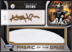 2018   Antonio Brown Certified Fabric of the Game 2-CLR Patch Auto #1/5