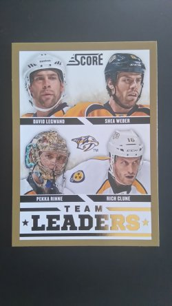 2013-14  Score Team Leaders Gold #566 Rinne, Legwand, Clune, Weber