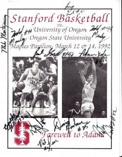 1992   Stanford Basketball Signed Program
