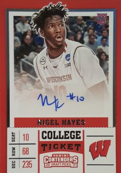 2017-18 Panini Contenders Nigel Hayes College Ticket Auto