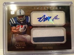 2011 Topps Inception Delone Carter Patch Auto /599