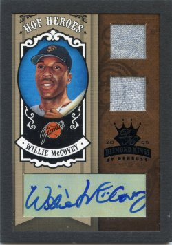 2005 Donruss Diamond Kings Willie McCovey HOF Heroes Framed Green Dual Materials Signature Black