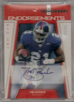 2006 Upper Deck Hot Prospects Tiki Barber Endorsements Red