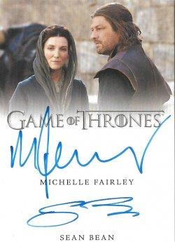 2020  Rittenhouse Game of Thrones Season 8 Dual Autographs Sean Bean / Michelle Fairley