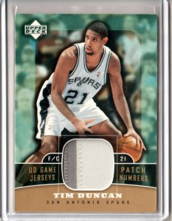2004 Upper Deck Upper Deck Basketball Time Duncan UD Game Jerseys Patch Numbers