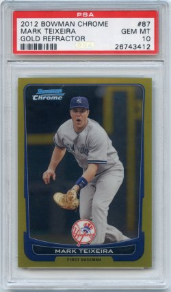 2012 Bowman Chrome Mark Teixeira Refractor Gold