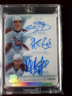 2015-16 Upper Deck The Cup Enshrinements Trio Joe Sakic / Patrick Roy / Ray Bourque