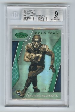 2017 Certified Gold Team Mirror Green #15 Leonard Fournette/5 BGS 9