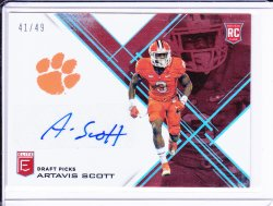 Artavis Scott 2017 Elite Draft Picks Autographs Aspirations Red /49