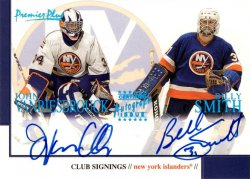 John Vanbiesbrouck 2000-01 Topps Premier Plus Club Signings Combo with Billy Smith Dual Autograph