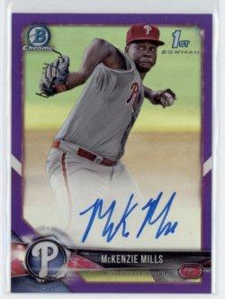 2018 McKenzie Mills Bowman Chrome 1st Bowman Purple Refractor On-Card Auto RC 35/250  Phillies #CPA-MMI 21C447