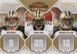 2010 Panini Threads Triple Threat  Drew Brees/Reggie Bush/Marques Colston
