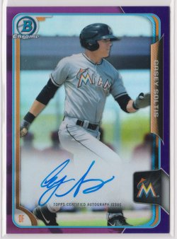 2015 Casey Soltis Bowman Chrome Purple Refractor On-Card Auto RC 112/250  Marlins B1791