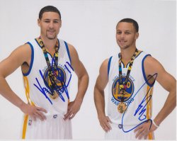 Klay Thompson / Stephen Curry Signed IP 8x10 Photo