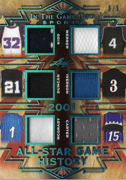 2019 Leaf In The Game Used Sports All-Star Game History 6 Relics Platinum Kidd / Webber / Duncan / Iverson / McGrady / Carter #ed 6/9