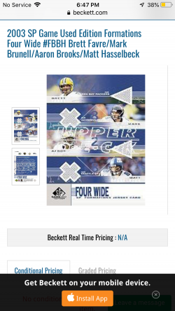 2003 Upper Deck SP Game Used Formation Four Wide Regular and Gold Favre, Brooks, Brunell and Hasselbeck