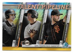 2017 Topps Bowman Chrome Talent Pipeline Gold Refractors Bryan Reynolds, Christian Arroyo, and Clayton Blackburn