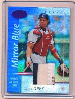 Javy Lopez 2002 Leaf Certified Mirror Blue Jersey /75