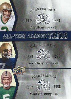 2013 Upper Deck Notre Dame All-Time Alumni Trios Joe Montana/Theismann/Hornung
