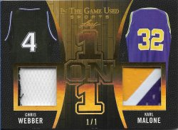 2020 Leaf In The Game Used Sports One on One Relics Gold Chris Webber / Karl Malone #ed 1/1