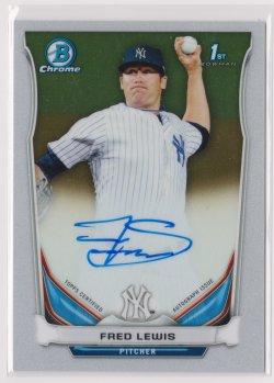 2014 Fred Lewis Bowman Chrome  On-Card Auto RC   Yankees B1773