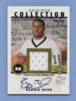 2006 Topps Heritage Gridiron Collection Jersey Autographs #GCRARB Reggie Bush/25