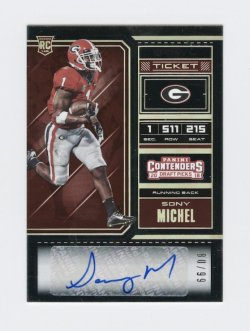 2018 Panini Contenders Draft Picks Bowl Ticket #141A Sony Michel AU/99