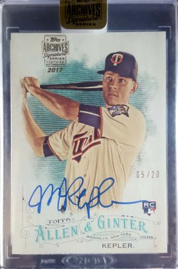 2017 Topps Archives Signature Series Max Kepler 2016 Allen & Ginter